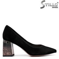 Pantofi dama din velur cu toc colorat - 34746