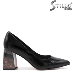 Pantofi dama din lac cu toc debordant - 34747