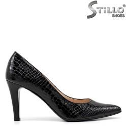 Pantofi dama sport din lac croco de culoare negru - 34787
