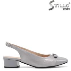 Pantofi dama de culoare argintiu si cu toc jos - 34789
