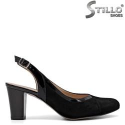 Sandale dama elegante din velur si cu toc mijlociu - 34793