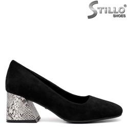 Pantofi dama din velur de culoare negru si cu toc  - 34803