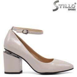 Pantofi dama de culoare gri din lac si curelusa la glezna  - 34807
