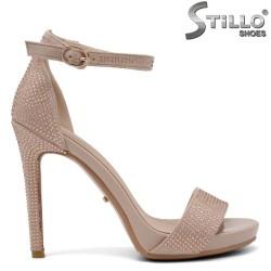 Sandale dama din velur cu pietricele si cu toc inalt si cu platforma - 34819