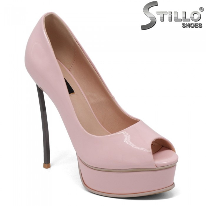 Pantofi dama eleganti de culoare roz cu toc subtire metalic - 34825