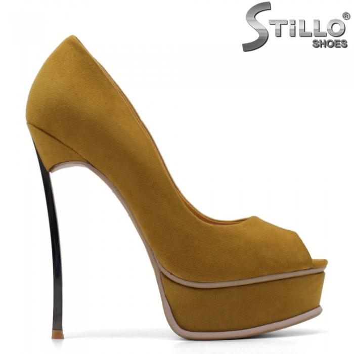 Pantofi dama de culoare mustard cu toc si cu platforma - 34826