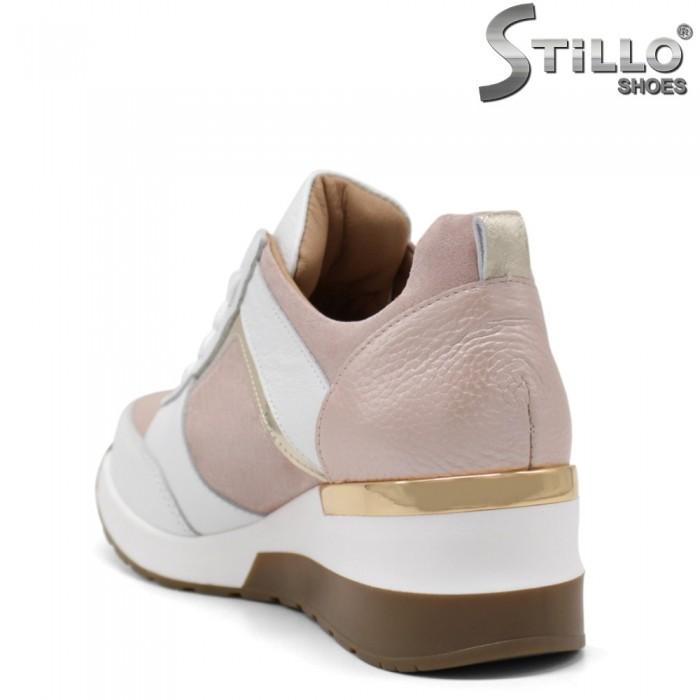 Sneakers dama de culoare albsi roz cu platforma  - 34833