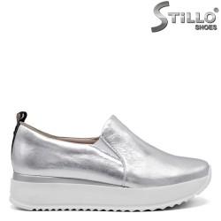Pantofi dama sport din piele naturala de culoare argintiu - 34834