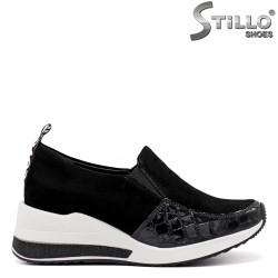 Pantofi dama sport din lac si velur - 34835