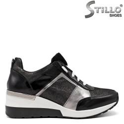 Sneakers dama din piele naturala de culoare negru si cu brocat - 34837