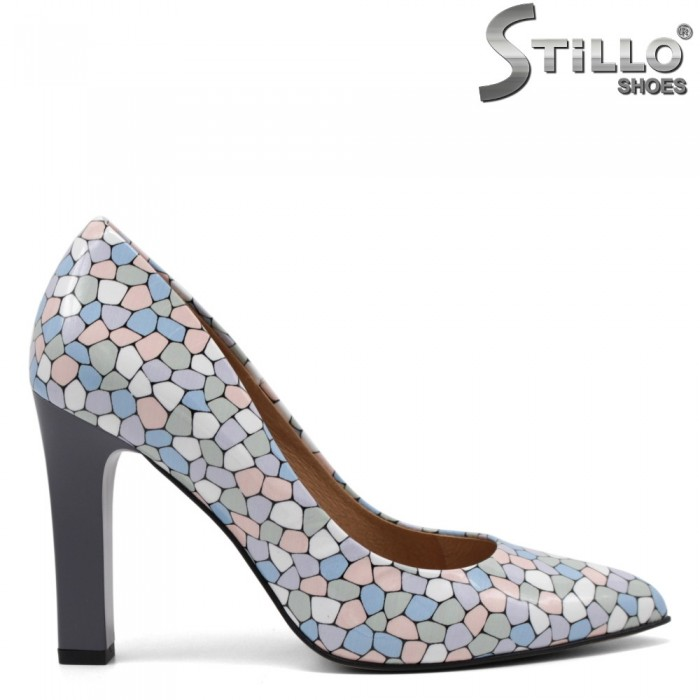 Pantofi dama eleganti cu toc inalt si desen tip mozaic - 34841