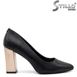 Pantofi dama cu toc inalt de culoare auriu - 34846