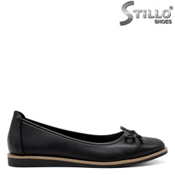 Balerini din piele de culoare negru si cu funda - 34849