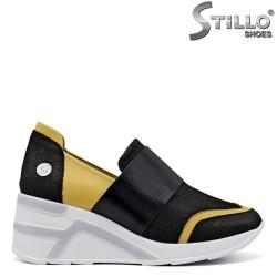 Pantofi dama sport si cu platforma de culoare galben si negru - 34851