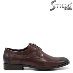 Pantofi barbati din piele de culoare maron si cu sireturi - 34862