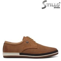 Pantofi barbati de culoare bej si cu perforatie - 34863