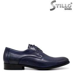Pantofi barbati de ocazie din piele naturala de culoare albastru - 34864