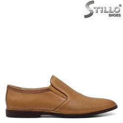 Pantofi barbati din piele naturala de culoare bej - 34865
