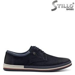 Pantofi barbati sport din nubuc de culoare albastru - 34867