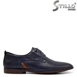Pantofi barbati de ocazie din piele naturala de culoare albastru - 34871