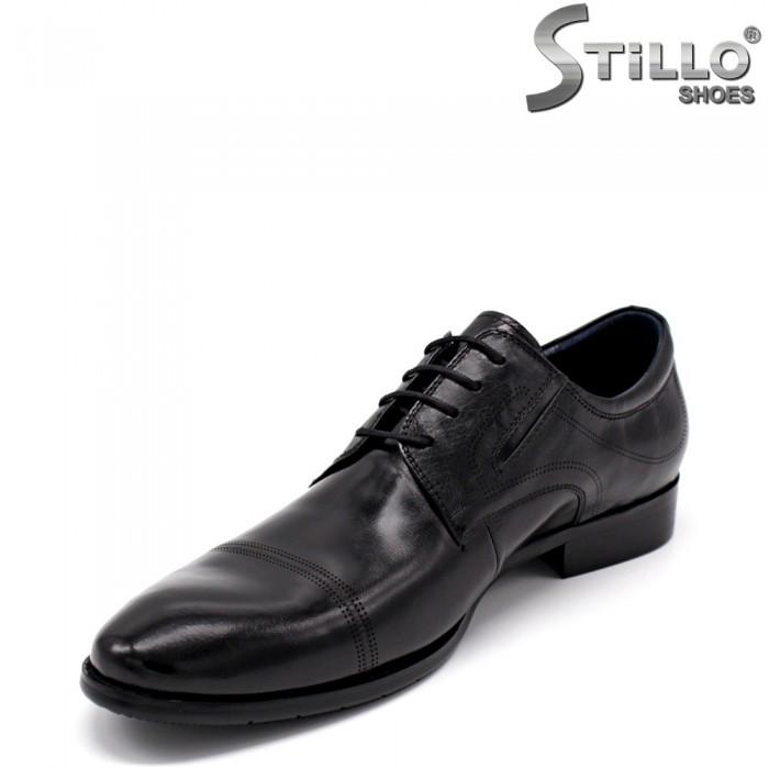 Pantofi barbati din piele naturala de culoare negru - 34872