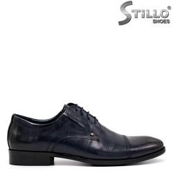 Pantofi barbati din piele naturala de culoare albastru inchis - 34876