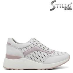 Pantofi dama sport cu platforma de culoare alb si roz - 34892