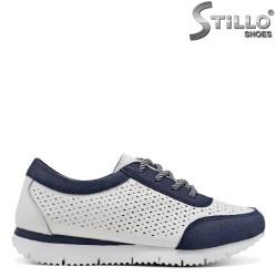 Pantofi dama sport de culoare alb si albastru si cu sireturi - 34894
