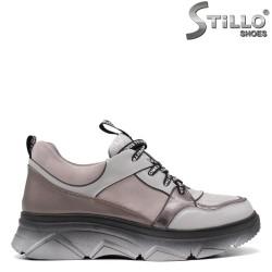 Snickers dama de culoare gri si roz - 34897