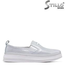 Pantofi dama sport de culoare albastru cu brocat - 34898