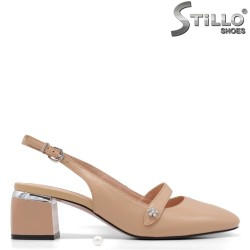 Pantofi dama de culoare bej cu partea din spate decupata si cu toc - 34908
