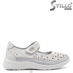 Pantofi dama perforati din piele naturala - 34911