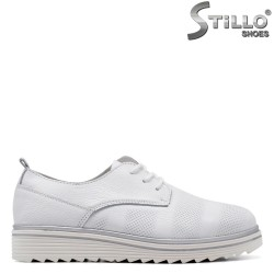 Pantofi dama sport cu platofrma din piele naturala de culoare alb - 34916