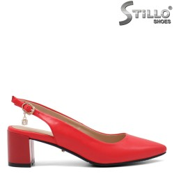 Sandale dama de culoare rosu cu partea din spate decupata si cu toc - 34932