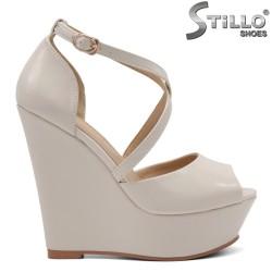 Sandale dama de culoare bej cu platforma inalta - 34941