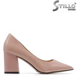 Pantofi dama cu toc gros din lac de culoare roz - 34953