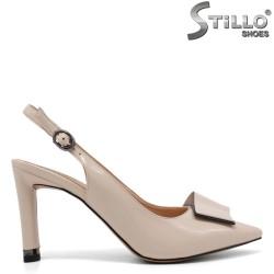 Pantofi dama de culoare bej cu partea din spate decupata - 34955
