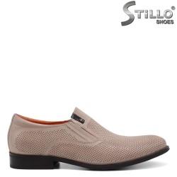 Pantofi barbati din piele naturala de culoare bej - 34959