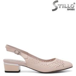 Pantofi dama de vara de culoare bej din piele naturala - 34965