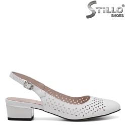 Sandale dama din piele de culoare alb si cu perforatie - 34966