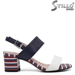 Sandale dama cu toc si dungi colorate - 34967