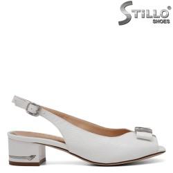 Sandale dama de culoare alb cu funda si partea din fata decupata - 34981
