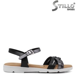 Sandale dama de culoare negru si argintiu cu talpic moale - 34998