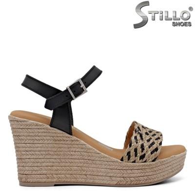 Sandale dama MARILA  impletite si cu platforma de culoare negru - 35002