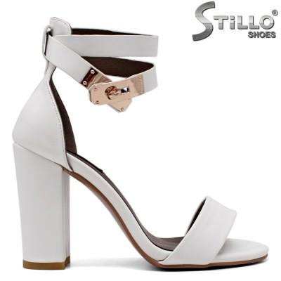 Sandale dama de culoare alb cu toc gros inalt - 35015