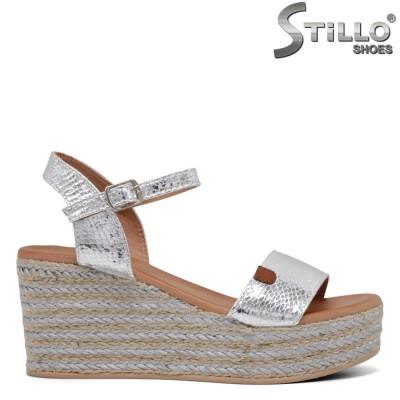 Sandale dama de zi cu zi din piele de culoare argintiu si cu platforma  - 35027