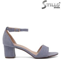 Sandale dama din velur cu toc si partea de la calcai acoperita - 35031