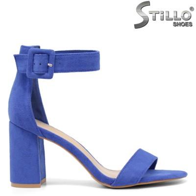 Sandale dama din velur de culoare albastru si cu toc gros - 35041