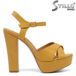 Sandale dama de culoare galben cu platforma si cu toc inalt - 35042