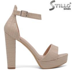 Sandale dama de culoare bej croco cu platforma si cu toc - 35043